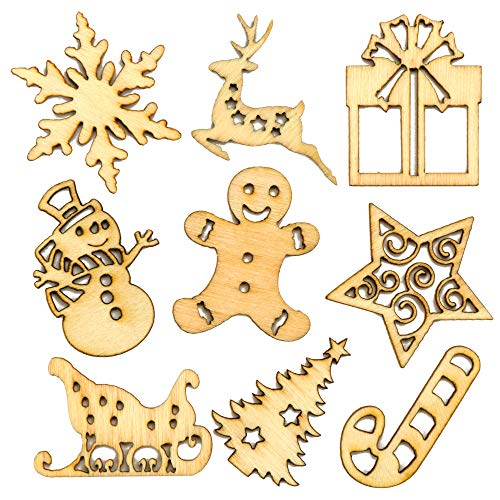 Baker Ross AV678 Mini Wooden Shapes for Christmas Cards Craft and Decorations (Pack of 45), Brown