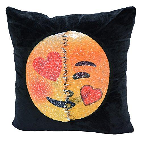 Snug Star - Fodera copricuscino reversibile con sirena e paillettes, con emoji che cambia, cuscino decorativo fai da te per divano, Home Decor 40x 40cm Lewd and kiss