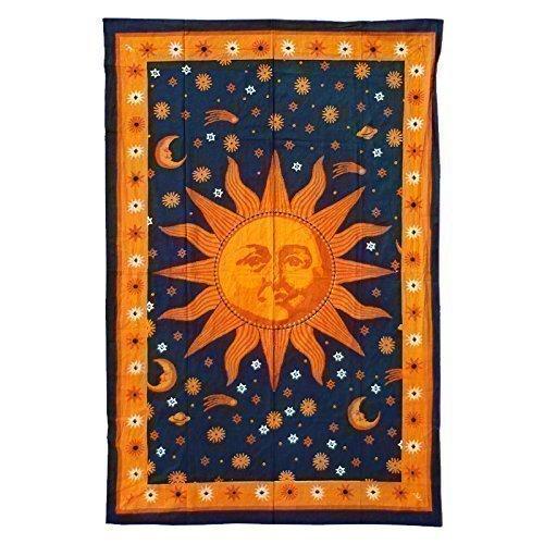 Handicrunch Batik-Tuch Wandtuch Tagesdecke 1400x2200 Zon Sonne schwarz orange gelb Goa Strandtuch Sarong Wandbehang
