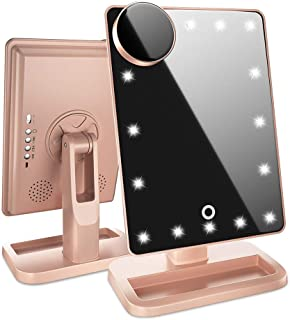 Beautify Beauties Lighted Makeup Mirror/Vanity Mirror with Bluetooth. Adjustable Brightness, Detachable 10X Magnification Spot Mirror, Rechargeable (Rose Gold)