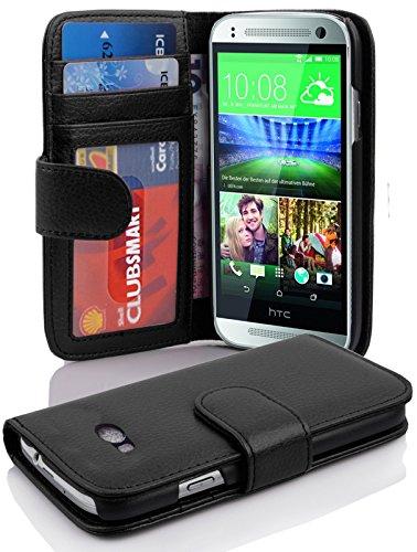 Cadorabo Hülle für HTC ONE M8 Mini (2.Gen.) - Hülle in Oxid SCHWARZ – Handyhülle mit 3 Kartenfächern - Case Cover Schutzhülle Etui Tasche Book Klapp Style