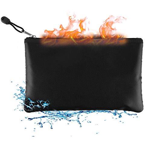 Bolsa resistente al fuego resistente al agua, bolsa ignífuga plegable apta para documentos, efectivo, factura, iPad, batería de carga, teléfono móvil, pasaporte, licencia y objetos de valor