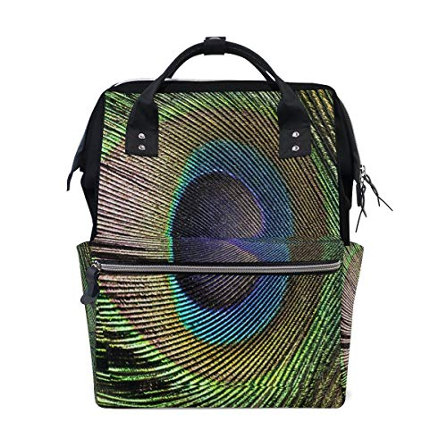 Bolsa de viaje multifunción con plumas de pavo real, color verde y azul