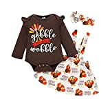Conjuntos de trajes de acción de gracias Vestido de pavo para niñas pequeñas y bebés Body de mameluco de manga larga con falda de tirantes Conjuntos de ropa Brown2 73 0-3 meses