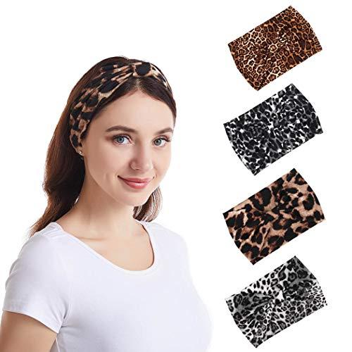 Bohend Mode Frauen Weise Stirnband Leopard Breit Haarband Verknotet Bandeau Dehnbar Baumwolle Stirnband Polyester Sport Haar Zubehör zum Mädchen( 4 Packung)