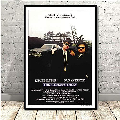 Flduod Vintage Blue Brothers Poster Print Film TV-Serie Klassische Leinwand Ölgemälde Kunst Wandbilder für Wohnzimmer Home Decor-No Frame 30x40cm