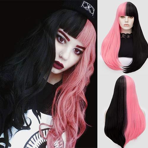 Blue Bird Perruque cheveux longs et raides synthétiques pour femme, moitié noire et moitié rose avec frange, perruque naturelle ondulée pour filles, idéale pour cosplay, fête, spectacle
