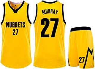 Basketball Clothing Suit Denver Nuggets 27#Jamal Murray Jersey Sleeveless Vest Sports Shorts Suit Training Competition Casual Sweatshirt,Yellow,2XS