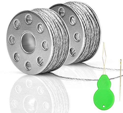 Conductive Thread 2 Bobbins 65ft/20m 45 Ω/m Smooth Sewable for Arduino Lilypad with Needle Threader