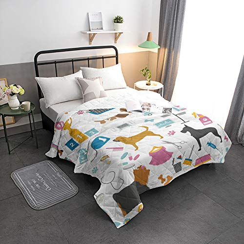 Advancey All-Season Microfiber Quilts Animal of Cute Dogs in Pet Hospital and Health Care Soft Reversible Bedspread Lightweight Machine Washable Coverlet, 64x88 inch