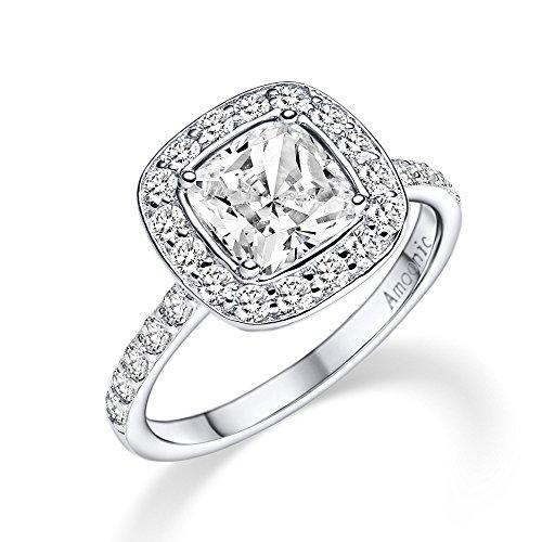 Silber Ring 925 Verlobungsringe von AMOONIC mit Zirkonia Damen-Ring Vorsteckring Kissen Stein quadratisch Ehering Trauring dünn schlicht schmal FF591 SS925ZIFAZIFA54
