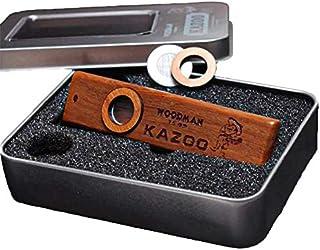 Kazoo de madera Instrumento de viento ukelele Flauta de aire Compañero de guitarra potable con Caja de almacenamiento para niños y adultos