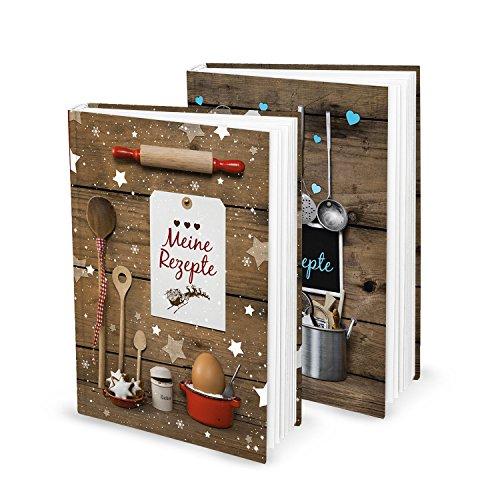Cadeauset voor Kerstmis, verjaardag, bruiloft, 2 x DIN A5 receptenboek, kookboek, bakboek om zelf te schrijven, mijn recepten, bakrecepten, keuken, eten gezonde voeding