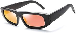 SGJFZD Men's Handmade Bamboo Personalized Wooden Sunglasses Coated Polarized Square Bamboo Glasses Uv400 (Color : Orange)