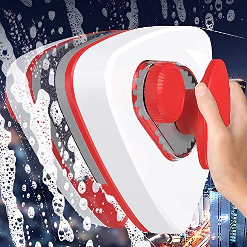 LZH FILTER Laveur de Vitre Double Face Magnétique Essuie-Glace en Verre Planeur Verre Outils de Nettoyage, Double Face Nettoyant Magnétique pour Vitres, pour Épaisseur des Fenêtres 8-36MM- Rouge
