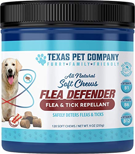 Texas Pet Company Flea and Tick Prevention for Dogs Flea Defender All Natural Flea and Tick Repellent Soft Chews for Dogs - Bacon Flavor Dog Treats for Fleas 120 Ct 9oz