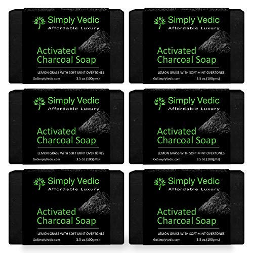 Simply Vedic 6-Pack Detoxifying Activated Charcoal with Mint & Lemongrass Soap Bar For Body, Hand, Face. 100% Vegan Cold Pressed With Coconut Oil, Hand-Made, Gift Set For Men & Women (3.5 Oz. X 6).