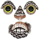 Zcaukya Tree Face Decor Glow Eyes in Dark, Fun Old Man Tree Sculpture Outdoor Yard Art Garden Decorations, 4 Pieces