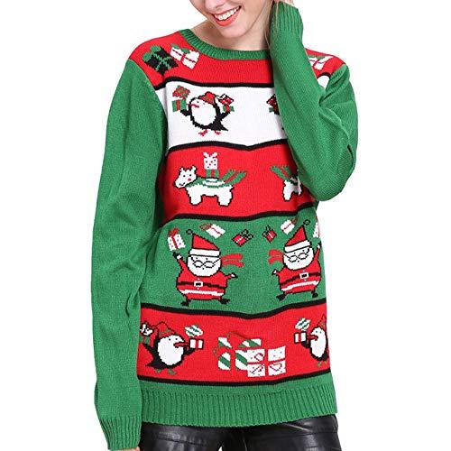 ZYLY Lindo suéter Navidad pingüino Punto Mujer Kawaii