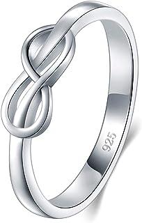 BORUO 925 纯银戒指,高抛光无穷符号抗锈蚀舒适贴合婚戒尺寸 4-12