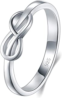 925 Sterling Silver Ring, High Polish Infinity Symbol Tarnish Resistant Comfort Fit Wedding Band Ring Size 4-12