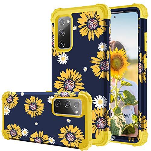 Samsung Galaxy S20 FE 5G Case, Fingic Sunflower 3 in 1 Heavy Duty Protection Hybrid Hard PC Soft Silicone Rugged Bumper Anti Slip Full-Body Shockproof Protective Case for Samsung Galaxy S20 FE 5G 2020