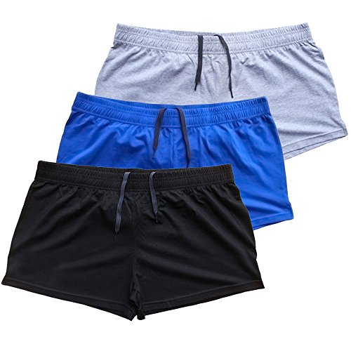 """Muscle Alive Mens Bodybuilding Shorts 3"""" Inseam Cotton Size M Black Blue and Gray 3 Packs"""