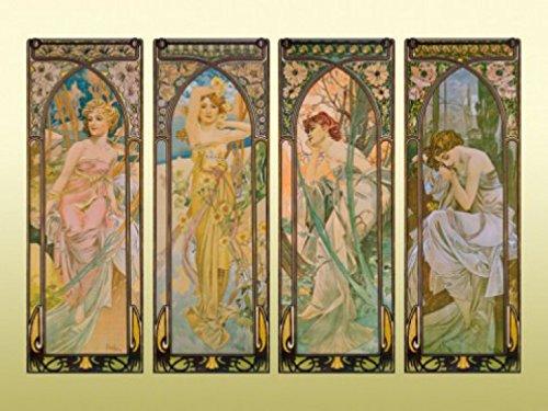 1art1 Alphonse Mucha - Die Vier Tageszeiten, 1899, 2-Teilig Fototapete Poster-Tapete 240 x 180 cm