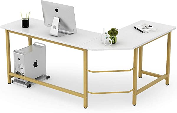 Tribesigns Modern L Shaped Desk Corner Computer Office Desk PC Laptop Gaming Table Workstation For Home Office White Gold Metal Frame