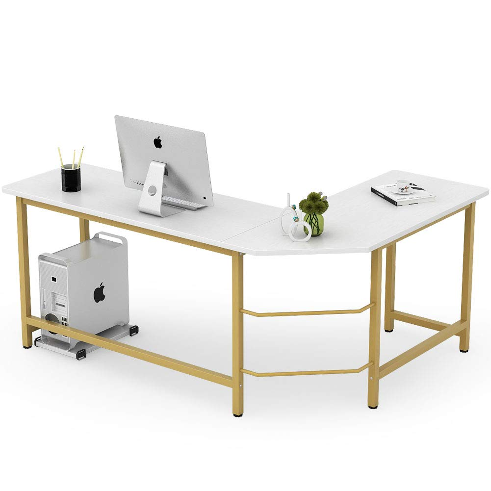 Tribesigns Modern L Shaped Desk Corner Computer Office Desk Pc Laptop Gaming Table Workstation For Home Office White Gold Metal Frame Amazon Sg Home