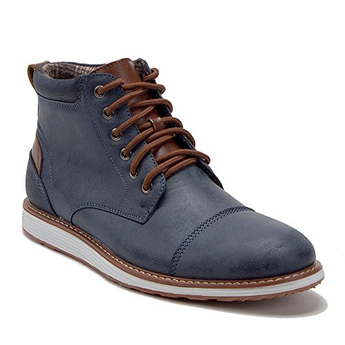 J'aime Aldo Men's 617138 Contrast Lace Up Ankle High Casual Sneakers Chukka Boots, Blue, 7