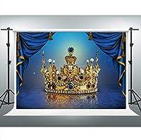 新しいロイヤルブルーカーテンゴールデンクラウン背景写真用7x5ftベビーシャワーの装飾子供の誕生日パーティーバナー 659