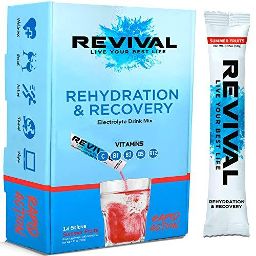 Revival Rapid Rehydration Electrolytes Powder - High Strength Vitamin C, B1, B3, B5, B12 Supplement Sachet Drink, Effervescent Electrolyte Hydration Tablets - 12 Pack Summer Fruits