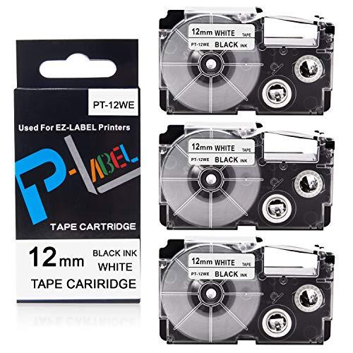 "Pristar Compatible Label Tape Replacement for XR-12WE for Casio Label Maker Tape 12mm Black on White Work with KL-100 KL-60 KL-7000 KL-7200 KL-780 KL-120 KL-8100, 1/2"" (12mm) x 26.2' (8m), 3-Pack"