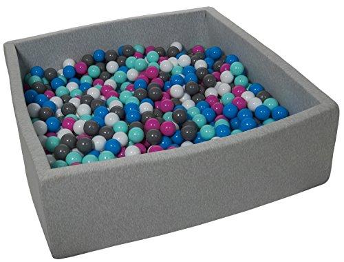 Velinda Piscine a Balles pour Enfant, Dimensions: 120x120 cm, Aire de Jeu + 900 Balles (Couleurs des Balles: Blanc, Bleu, Rose, Gris, Turquoise)