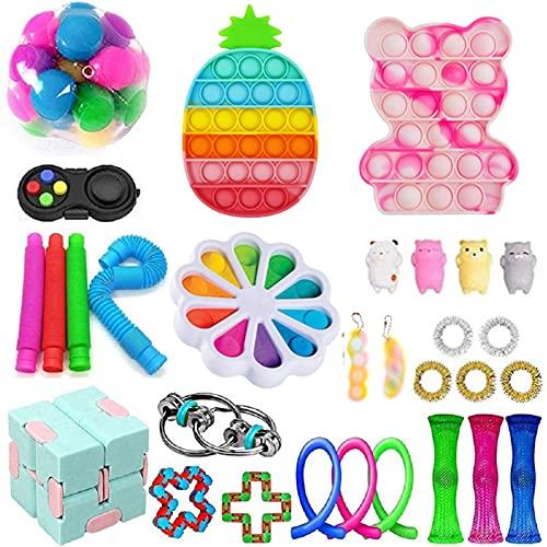 Juego de juguetes fidget baratos para fidget Fidget Box con simples hoyuelos Push Pop Bubble Cubo Infinito DNA Stress Relive Balls para niños adultos con TDAH ADD Ansiedad autismo (30 unidades J)