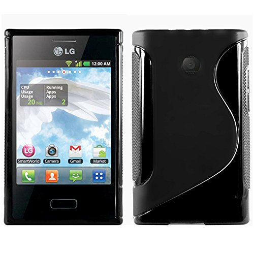 ebestStar - Cover Compatibile con LG Optimus L3 E400 Custodia Protezione S-Line Design Silicone Gel TPU Morbida e Sottile, Nero [Apparecchio: 102.6 x 61.6 x 11.9mm, 4.3'']