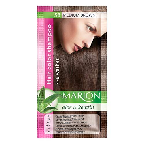 Marion Haarfärbe-Shampoo im Beutel, semi-dauerhafte Farbe, Haltbarkeit 4bis 8Wäschen, mit Aloe und Keratin