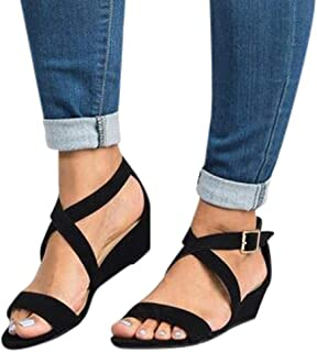 Women's Summer Ankle Strap Buckle Low Wedge Platform Heel Sandals Fashion Design Pump Shoes (US:8, Black-2)