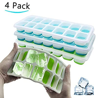 Ice Cube Trays with Lid, Easy-Release Silicone ...