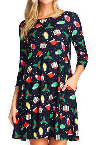 ICONOFLASH Plus Size Christmas Dresses with Pockets for Women 3/4 Sleeves Swing Holiday Party Dress Up Color Christmas Spirit, Size 2XLarge