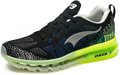 ONEMIX Scarpe da corsa da uomo, scarpe da corsa da corsa, scarpe sportive, Nero (Nero grigio verde), 42 EU