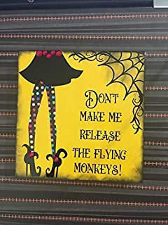 Iliogine Home Decorative Wood Sign Dont Make Me Release My Flying Monkeys Sign Halloween Plaque with Sayings Cabin Decor