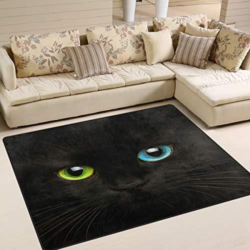Use7 Teppich, Katzen-Motiv mit Augen, Schwarz, Textil, multi, 203cm x 147.3cm(7 x 5 feet)