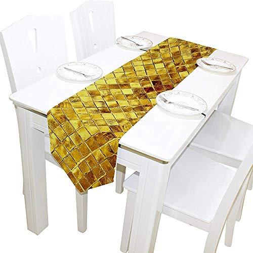 Tafelloper wooncultuur, vintage goud glitter art tafelkleed runner koffie mat