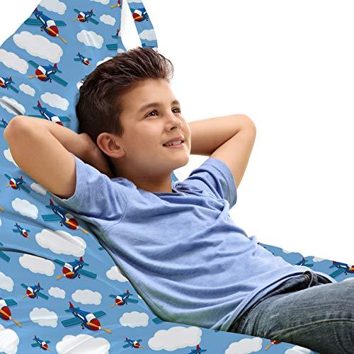 ABAKUHAUS Blauwe lucht Zitzak, Cartoon Layout Vliegtuigen, Veel Ruimte om Zacht Speelgoed als Knuffels in op te Bergen, met Handvat, Veelkleurig