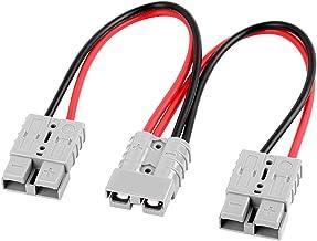 Leslaur Prise de Charge de connecteur de Batterie de Charge de Chariot /él/évateur divis/ée en Deux Grandes Lignes de c/âble de Courant 50A 600V 10AWG pour Divers v/éhicules /électriques