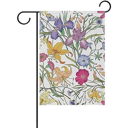 G.H.Y Joli Drapeau Floral de Sport de Maison de Jardin imprimé sur Un Double Motif Floral - Drapeaux décoratifs en Polyester 12x18in