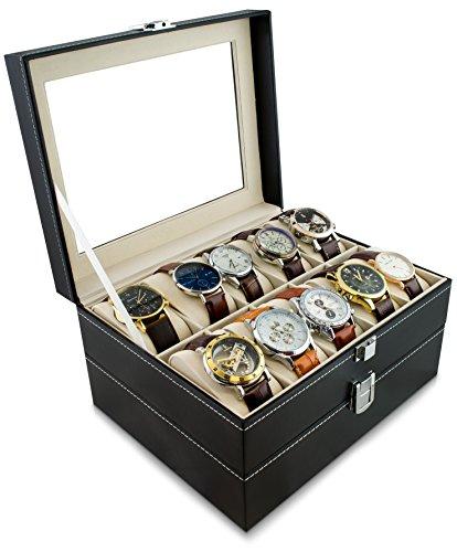 Grinscard Uhrenkoffer zur Aufbewahrung von 20 Uhren - Schwarz 26 x 24 x 15 cm - Armbanduhr Präsentation Uhr Organizer
