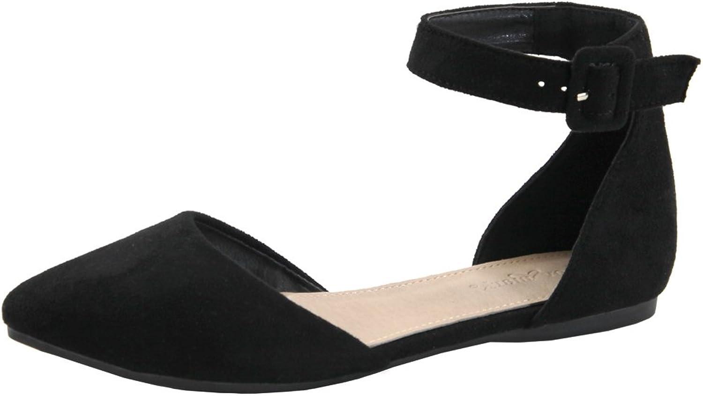 Lovmark Women's D'Orsay Adjustable Ankle Strap Pointed Toe Flat